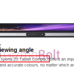 Xperia Z2 Tabletのプロダクトページで、Xperia Z3 Tablet Compactの名前を確認